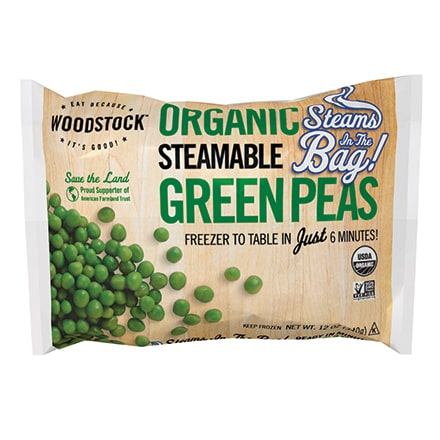 Organic Green Peas, Steamable
