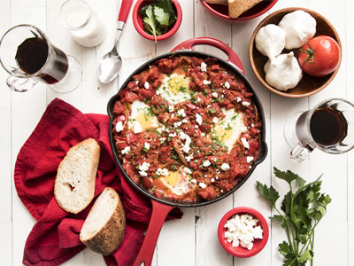 Grilled Pepper Shakshuka with Feta