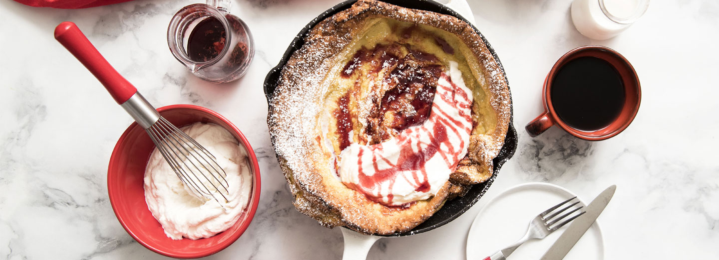 Lemon Dutch Baby with Strawberry Syrup