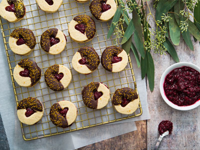 Chocolate-Dipped Raspberry Linzer Cookies