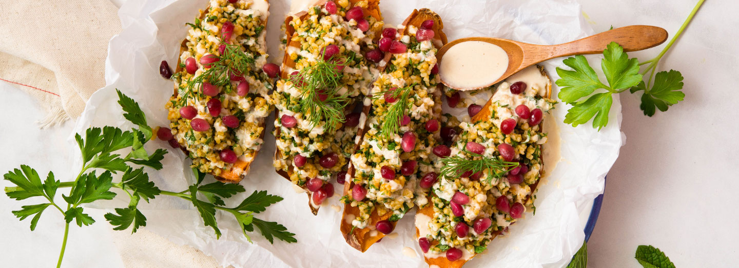 Loaded Mediterranean Baked Sweet Potatoes