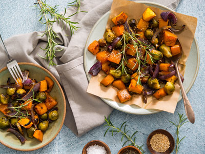 Maple-Glazed Brussels Sprouts and Winter Squash