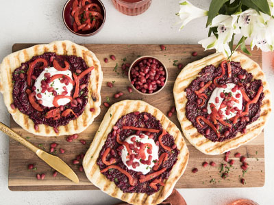 Miniature Grilled Flatbreads with Beet Pesto