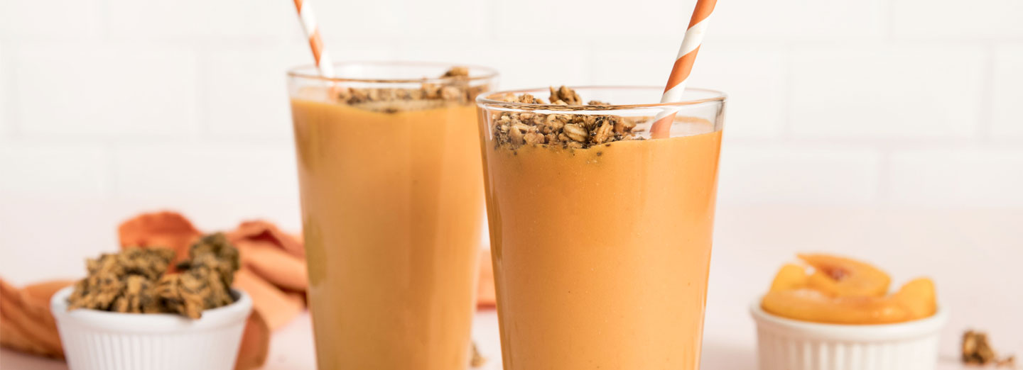 Peach-Turmeric Smoothie with Peanut Butter Crumble