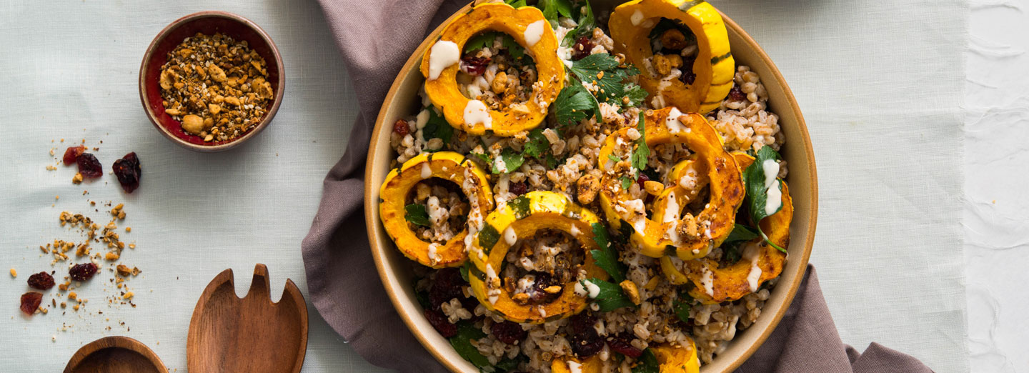 Roasted Delicata and Farro Salad with Hazelnut Dukkah