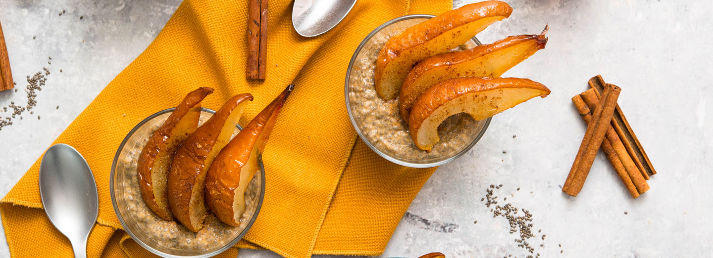Sweet Potato Chia Pudding with Roasted Pears