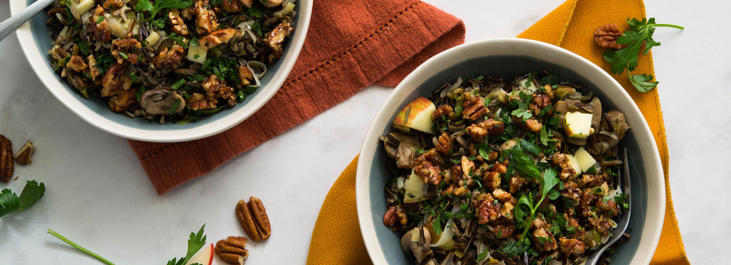 Wild Rice, Apple, and Mushroom Salad with Spicy Pecans
