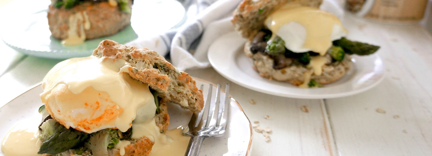Broccoli & Cheddar Oat Biscuit Eggs Benedict